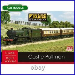 BNIB N Gauge Farish 370-160 Castle Class Pullman Digital Sound Steam Train Set
